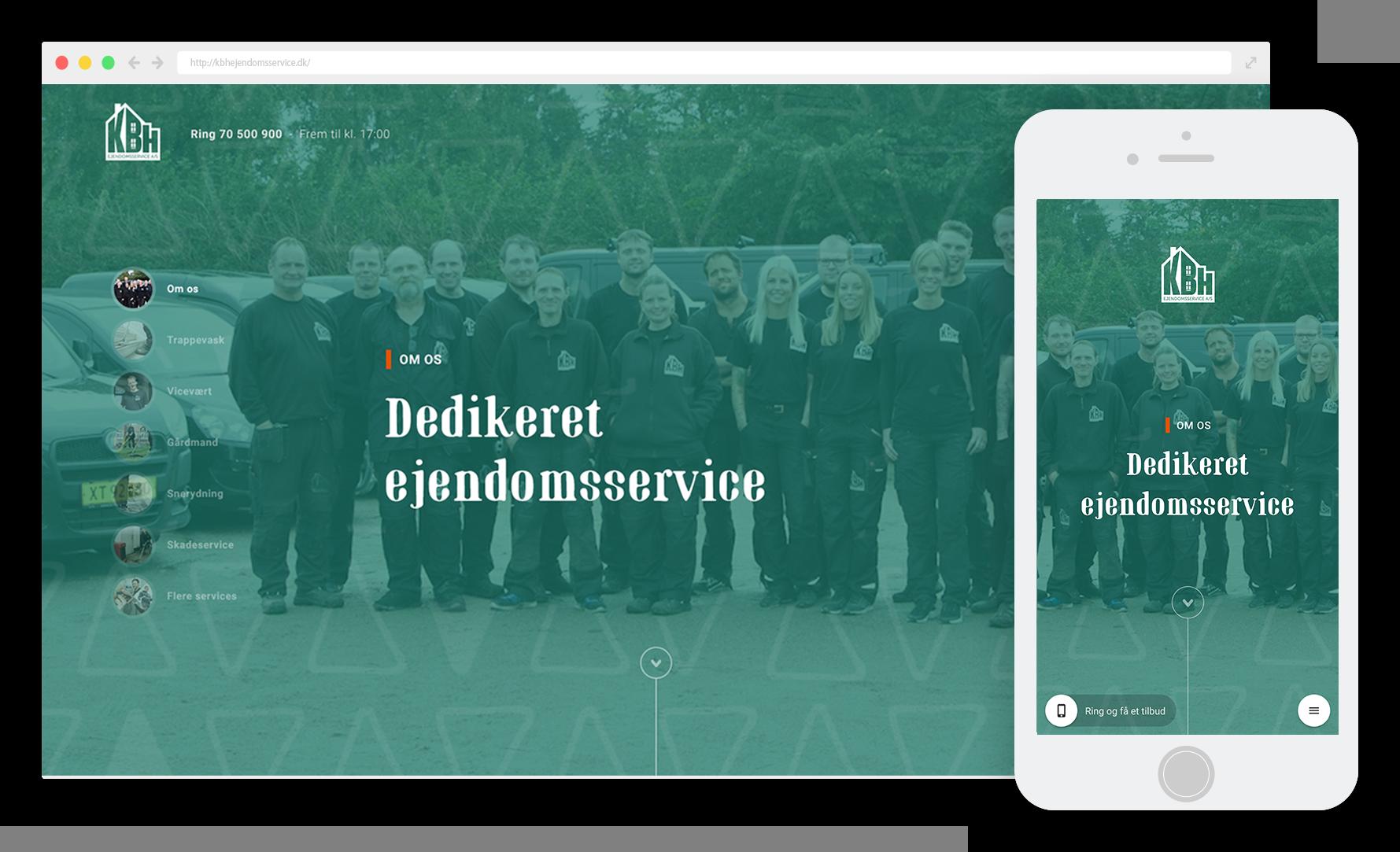 Kbh ejendomsservice hjemmeside præsentation desktop mobile